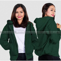 Jaket Sweater Hoodie Zipper Polos Unisex Size M L XL Green - Hijau, M