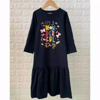 Gamis Anak Kaos Sablon Smilee size 2-8th - Baju Muslim Anak Perempuan - Navy, 2