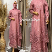 Gamis Kebaya Modern Brokat Tile Tingkat Full Bordir Baju Kondangan - DUSTY PINK, M