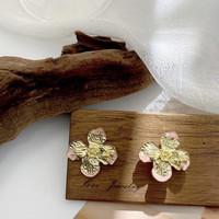 Anting Wanita Bohemian Retro Flower Pink Gold Fashion Korea Perhiasaan