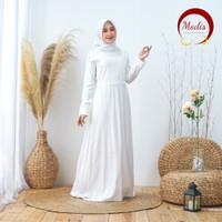 Modis Dress Baju Gamis Muslim Putih Turki Dubai Lebaran Haji *158 - M