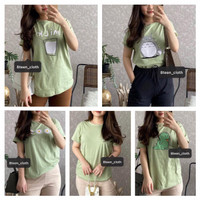 8TEENCLOTH-Kaos Wanita SAGE GREEN Lengan pendek T-Shirt/Tumblr Tee