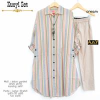 Baju Tunik Setelan Terbaru Katun Yanded Motif Garis Kancing by Moza