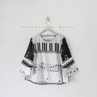 Baju Musik Musical Key Top Blouse Piano Fashion Unik