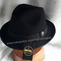 topi fedora Trilby topi pria warna hitam