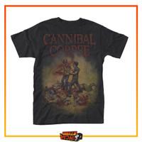 Baju Kaos Musik Band CANNIBAL CORPSE Black Metal Back Print Chainsaw - M