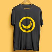 Kaos T-shirt Banana Pisang Kuning Icon Baju Katun Pakaian Custom Hitam