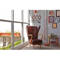 Exclusive Rustic High Back Chair - Sofa Kulit Minimalis Modern