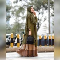 PROM0 SET Gamis Gagil Dress Pesta Ceruty Babydoll Army Jumbo Ld 120