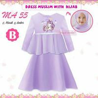 (8-13y) Gamis anak dress Muslim Baju Muslim Anak Unicorn Purple MA55