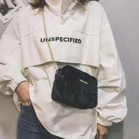 Tas Bahu / Selempang Bahan Plush dengan Tali Rantai untuk Wanita