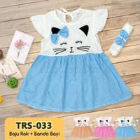 Baju Rok Terusan Bayi Perempuan + Bando TRS-033 Dress Bayi Perempuan