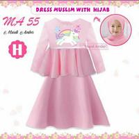 (8-13y) Dress Muslim Baju Muslim Anak Unicorn Rainbow Merek MA55