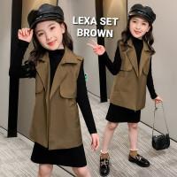 LEXA SET BROWN BAJU SETELAN DRESS PANJANG ANAK PEREMPUAN OUTER CASUAL - 140