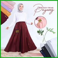 Rok Payung Panjang Wanita Ukuran Jumbo Bahan Satin Velvet Original