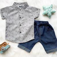 Baju Setelan Kemeja Anchor Anak Laki Laki Pakaian Bayi Umur 3-12 bulan