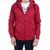 Jaket Sweater Hoodie Zipper Polos Unisex Size M L XL Maroon - Maroon, M
