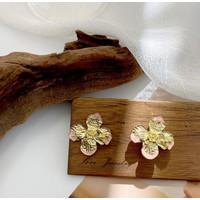 Anting Wanita Bohemian Retro Flower Pink Gold Fashion Korea Perhiasan