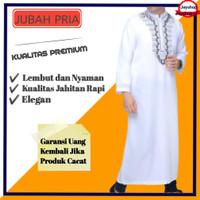 Baju Gamis Jubah Pria Laki Laki Dewasa Muslim Lengan Panjang Putih