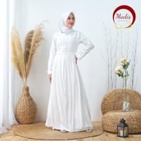 Modis Dress Baju Gamis Muslim Putih Turki Dubai Lebaran Haji *128