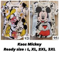 Kaos Wanita Mickey Mouse size L XL 2XL 3XL baju atasan lucu murah adem