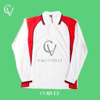 Kaos Kerah (Panjang Putih) Kaos Polo/Polo Shirt/Kaos olahraga senam - Putih Merah, M