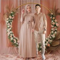 Baju Couple Pasangan Muslim Model Gamis Couple Suami Istri Mika