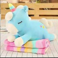 Balmut bantal selimut Boneka selimut unicorn - Biru rainbow, Unicorn