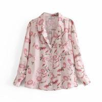 Kemeja Wanita Motif warna Pink Kemeja Korea Casual / Flower Shirt