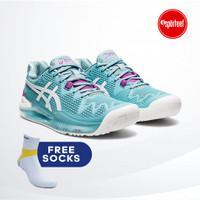 Asics Gel Resolution 8 Blue Women Tennis /Sepatu Tenis Wanita Original