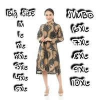 Dress Jumbo Batik 398 Bigsize Baju Atasan Wanita Big Size Batik Jumbo0 - batik, M