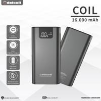 Delcell COIL 16000mAh Powerbank Real Capacity Garansi 2 Tahun - Black