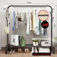 Gantungan baju rak jemuran besi stand hanger single tempat pakaian