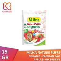 Milna Nature Puffs Organic Apple & Mix Berries 15 gr - Camilan Bayi