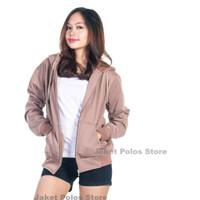 Jaket Sweater Hoodie Zipper Polos Unisex Size M L XL Cream - Cream, M