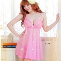BAJU TIDUR SEKS LACE LINGERIE DRESS G String Flower Hanna PINK SL06E