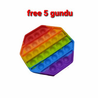 Mainan pop it fidget toys rainbow free 5 pcs gundu penghilang stress