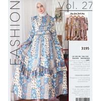 maxi dress muslim baju gamis syari baju muslim motif bunga - Biru