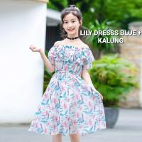 BAJUKIDDIE LILY DRESS BLUE BAJU TERUSAN SABRINA ANAK PEREMPUAN IMPOR - 120