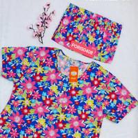 Baju Tidur HOKI XXL Jumbo Katun wanita Celana 3/4 (fresh flower)