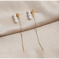 Anting Wanita Korea Rumbai Panjang Tassel Pearl Gold Perhiasan Fashion