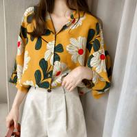 Baju atasan wanita casual bunga fashion wanita cantik -Flowery Top- - Kuning, M
