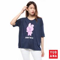 Kaos Oversize Wanita Lengan Pendek BTS BT21 Cooky - Navy, L