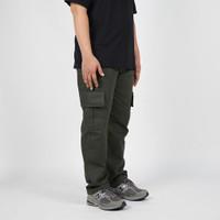 Daily Outfits - Celana Panjang Pria Cargo Canvas Hijau Army Premium