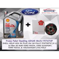 Paket Oli SHELL HELIX HX8 5W-30 & Filter Mobil FORD FIESTA & ECOSPORT