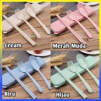 Cutlery Set Alat Makan sendok sumpit garpu travel 100345 - Random