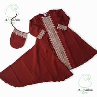 Gamis Syari Anak Perempuan Baju Muslim Renda Arab Moscrepe utk 1-6 thn