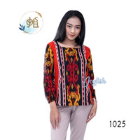 Blouse Batik Motif Toraja - Atasan Blus Kemeja Wanita Lengan Panjang - Corak Besar, S
