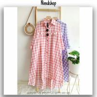 Tunik Katun Import / Fashion Baju Wanita Kotak Lilac Kuning Abu Salem