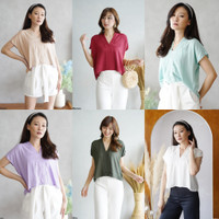 Casual Vneck Rayon Blouse Crop Top Polos Wanita Big Size Jumbo